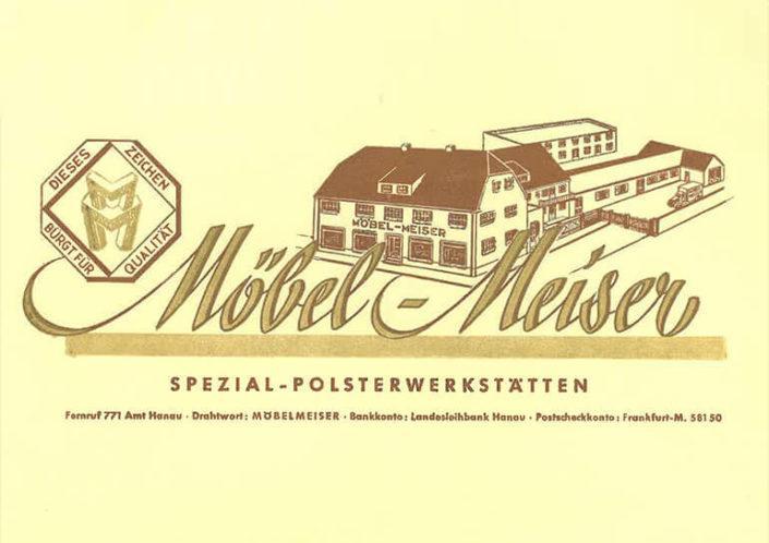 Briefbogen aus den 1950er Jahren von Möbel Meiser