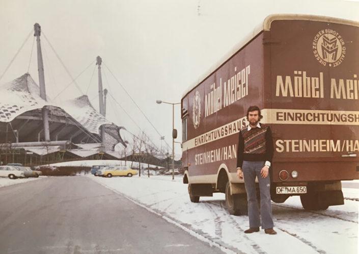 LKW von Möbel Meiser am Münchener Olympiastadion