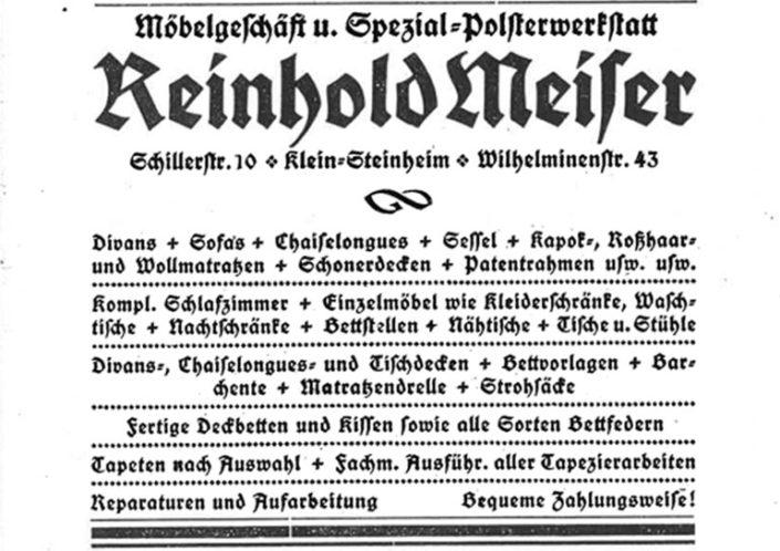 MEISER HOME OF LIVING Zeitungsanzeige 1920