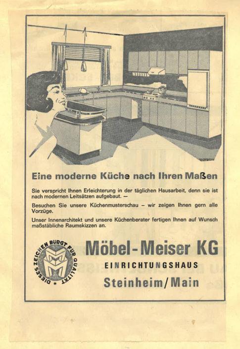 MEISER HOME OF LIVING Zeitungsanzeige 1971