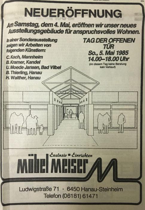MEISER HOME OF LIVING Zeitungsanzeige 1985
