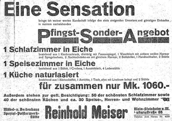 MEISER HOME OF LIVING Zeitungsanzeige 1929